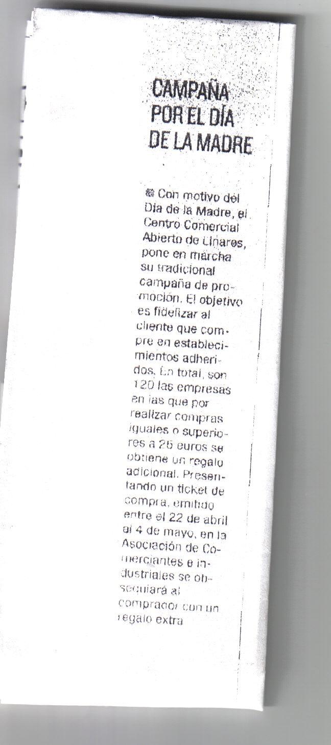 Noticia Prensa  Campaña Día de la Madre. Diario Jaén 25 abril