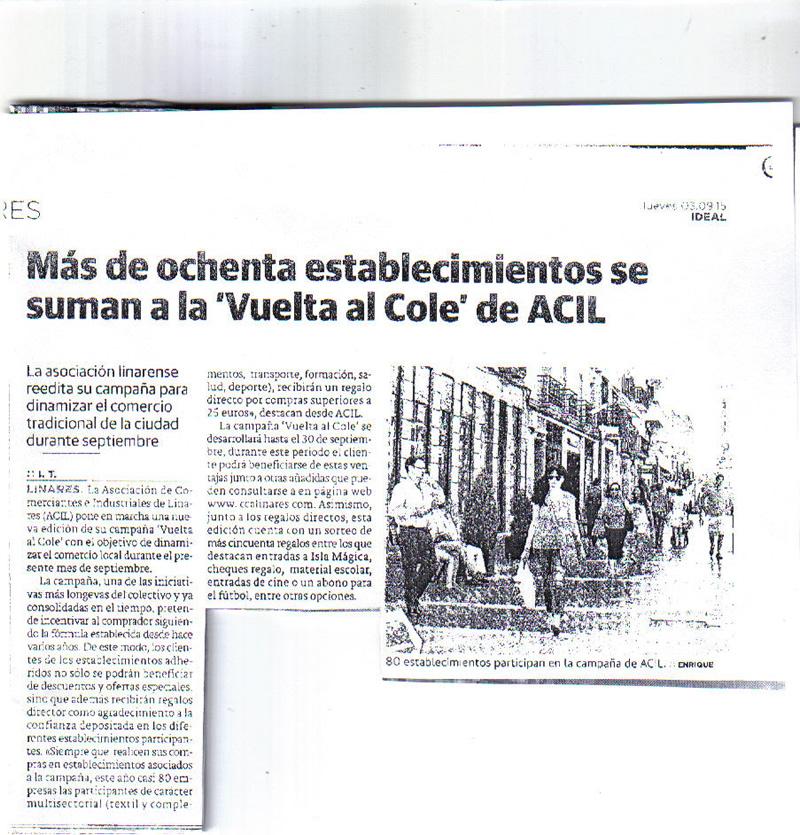 Noticia Campaña Vuelta al Cole 2015. Ideal 3 Sep