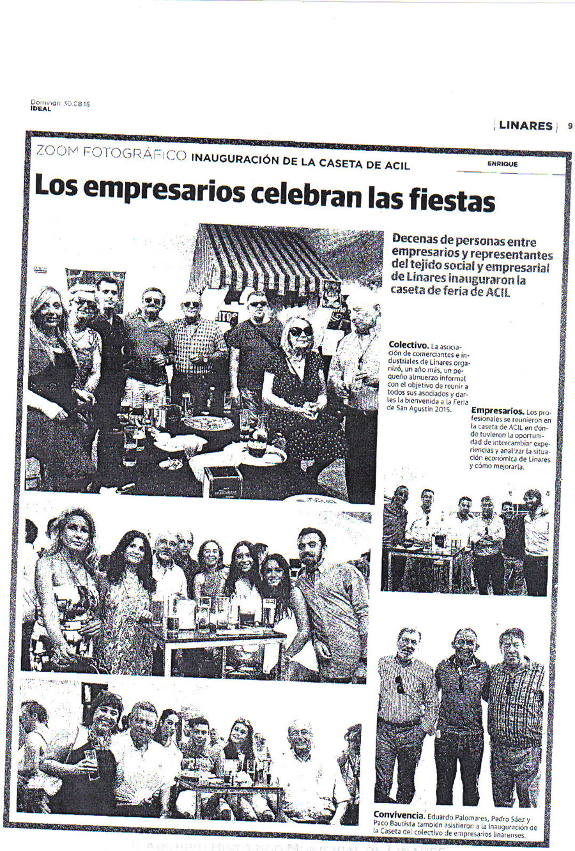 Noticia Inauguración Caseta. Periódico Ideal. 30 agosto