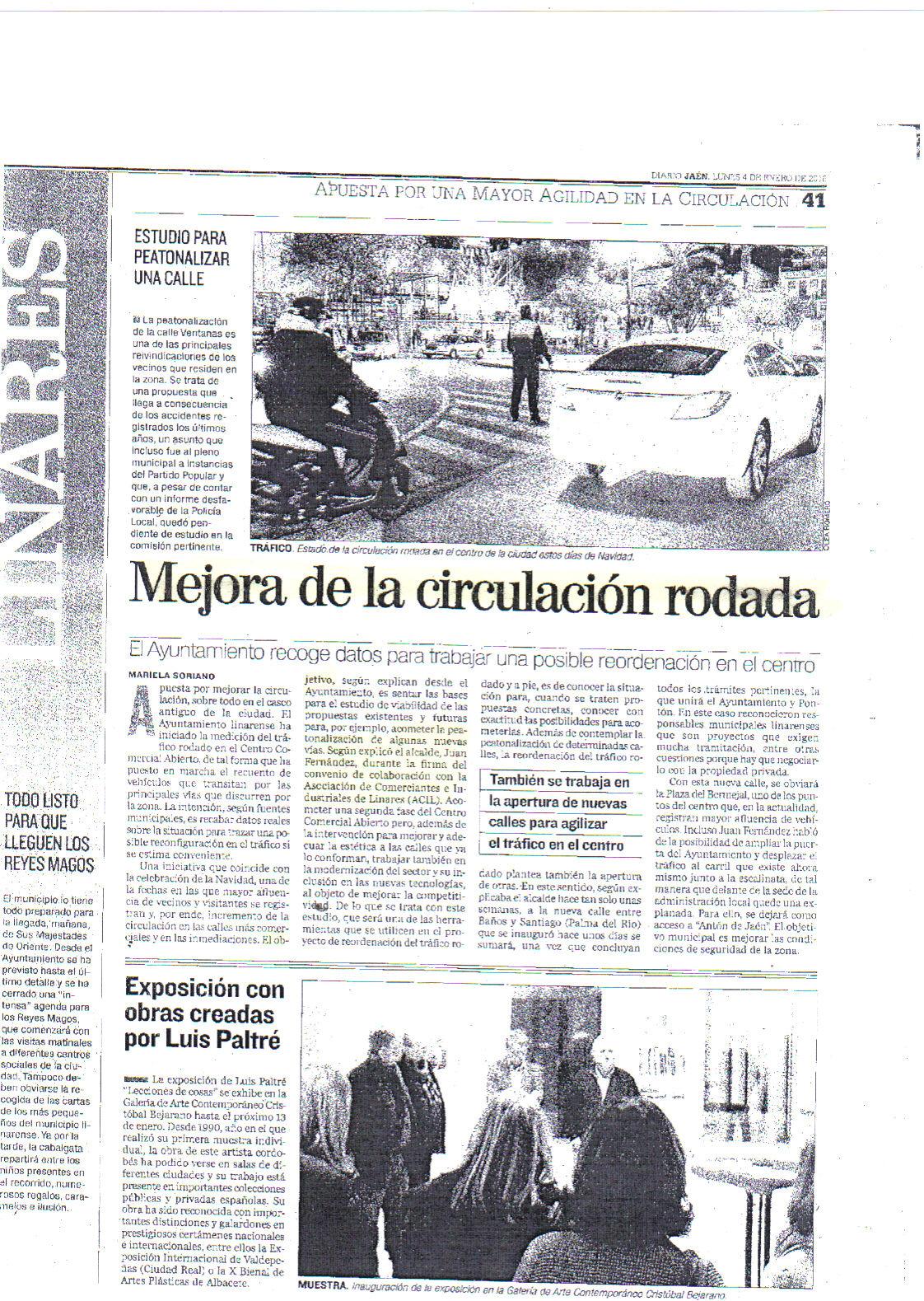 Mejora de la Circulación Rodada. Prensa Jaén 4 enero