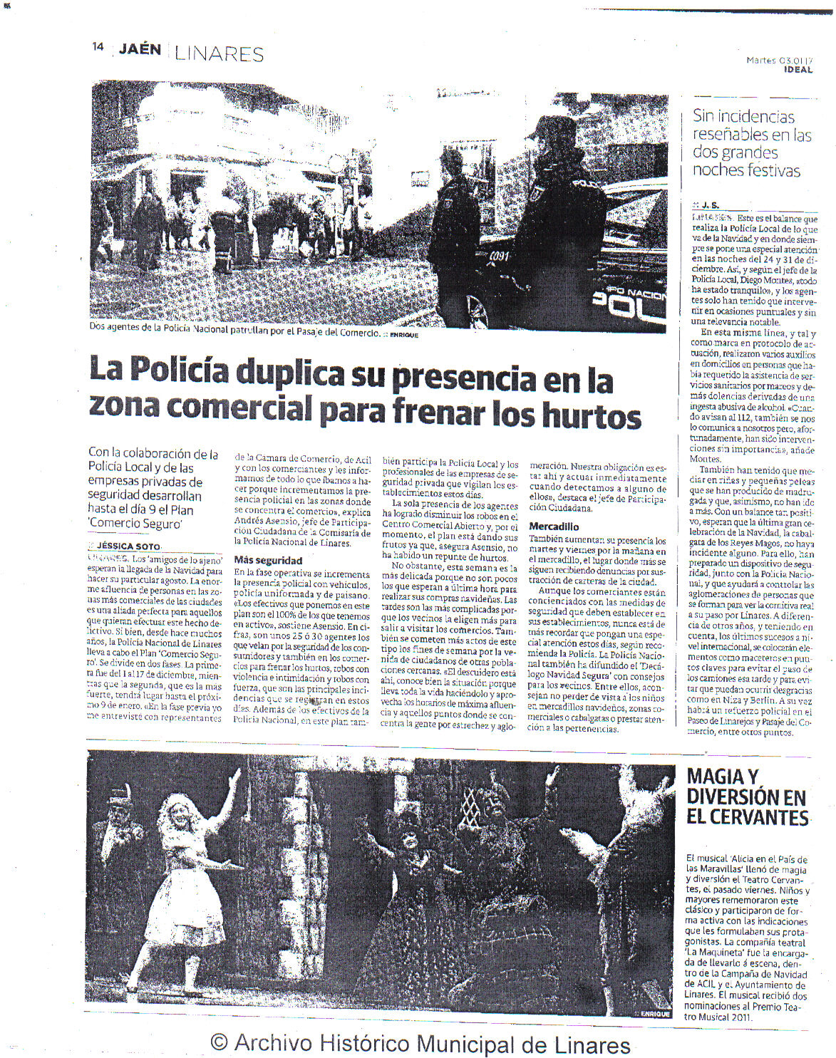 Prensa 3 de enero. Ideal